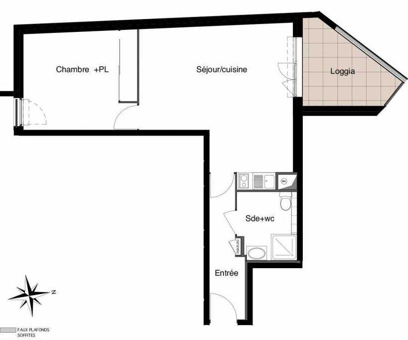 Plan A05, appartement neuf type T2 au 2ème étage, faisant 49m² du programme neuf Six-Fours République à Six-Fours-les-Plages.