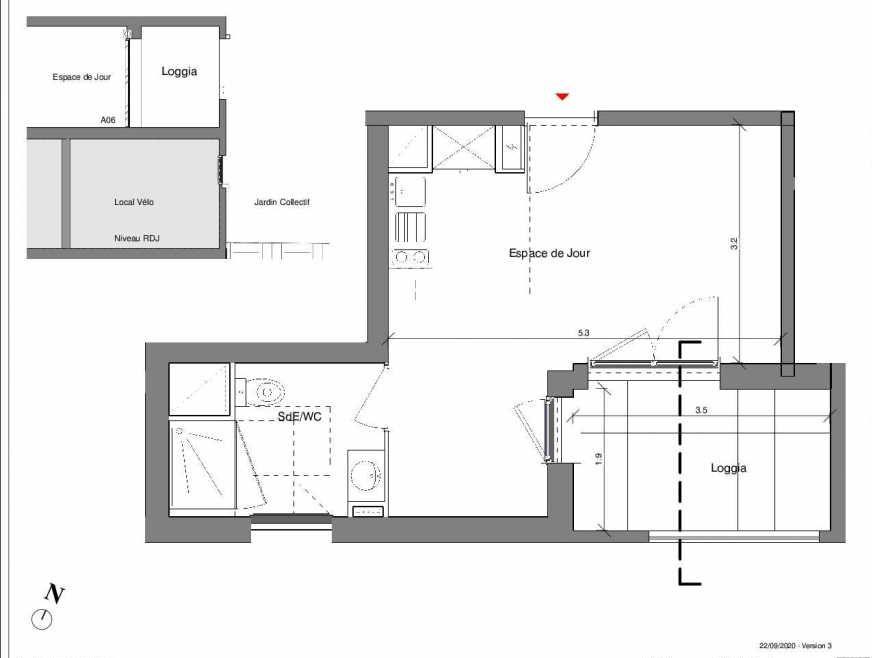 Plan A06, appartement neuf type T1 au Rez de chaussée, faisant 27m² du programme neuf Kubik Garden à Vénissieux.