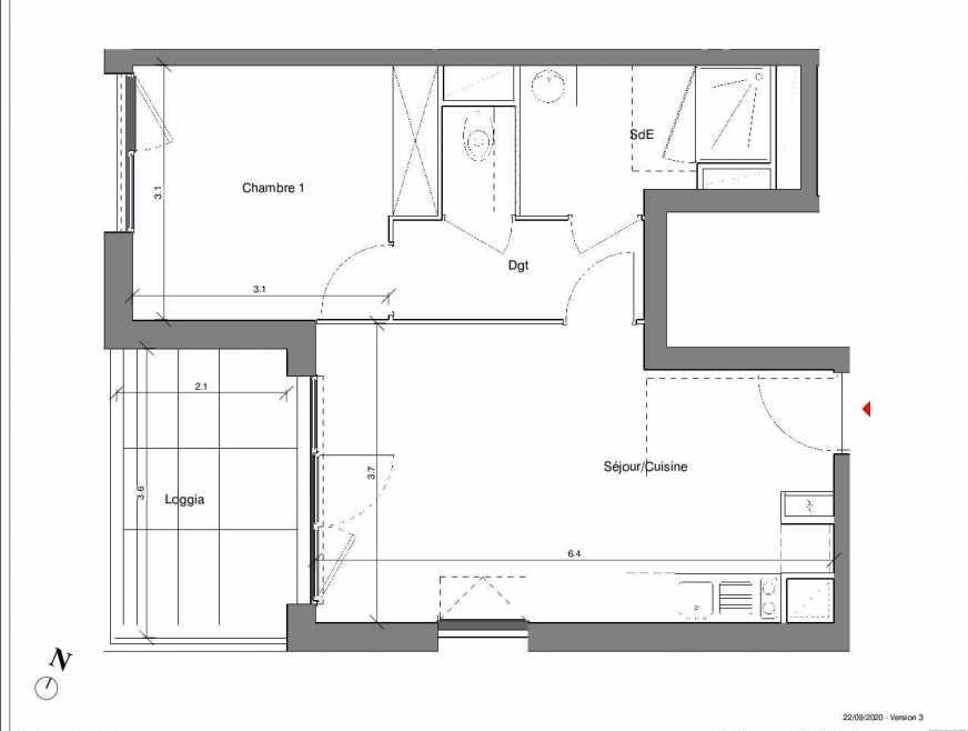 Plan A07, appartement neuf type T2 au 1er étage, faisant 42m² du programme neuf Kubik Garden à Vénissieux.