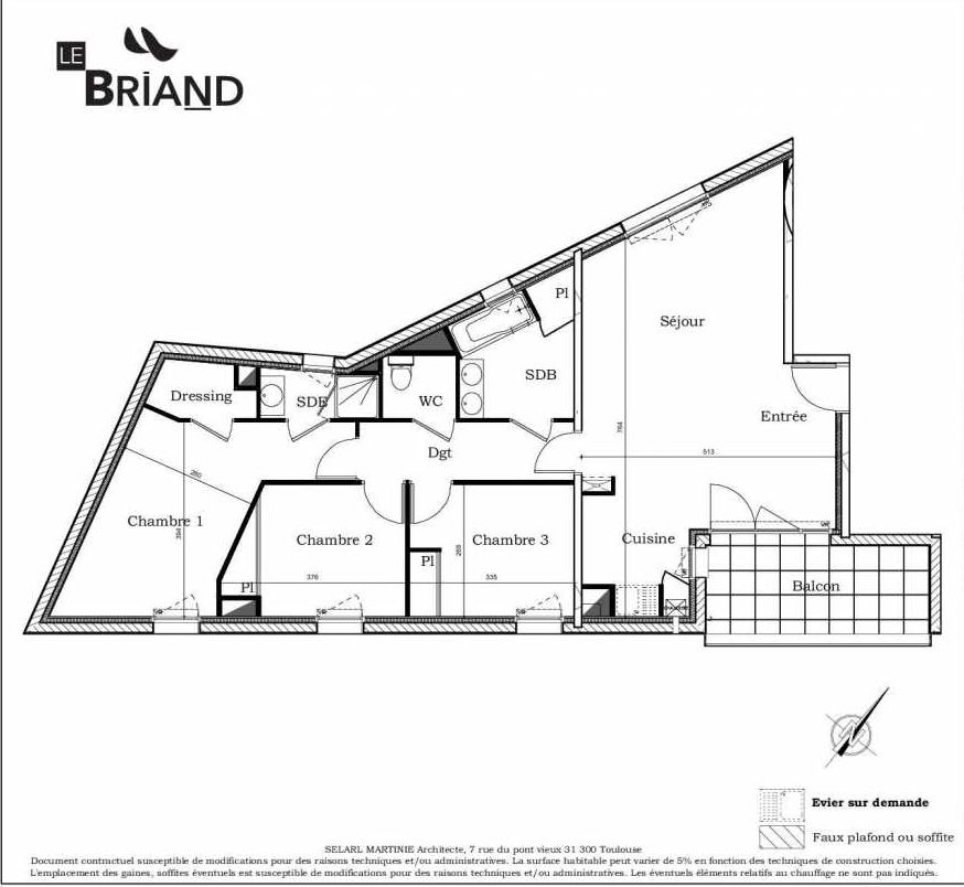 Plan A07, appartement neuf type T4 au 3ème étage, faisant 81m² du programme neuf Le Briand à Toulouse.