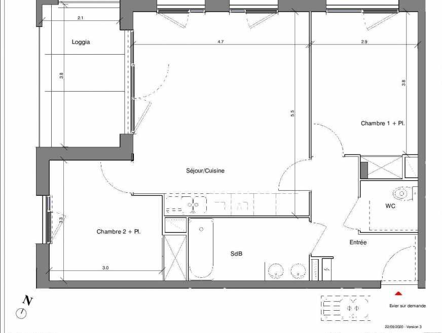 Plan A08, appartement neuf type T3 au 1er étage, faisant 61m² du programme neuf Kubik Garden à Vénissieux.