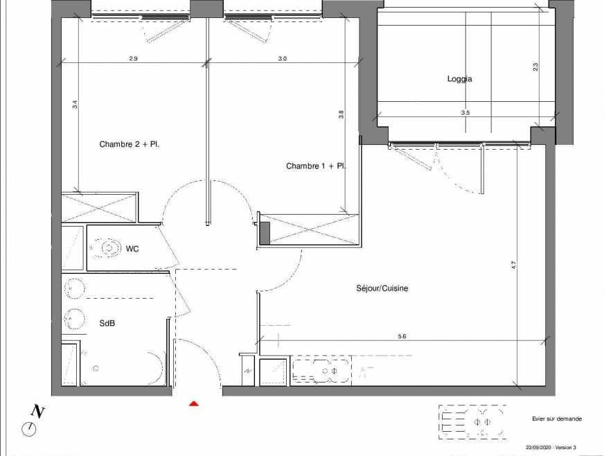 Plan A09, appartement neuf type T3 au 1er étage, faisant 58m² du programme neuf Kubik Garden à Vénissieux.