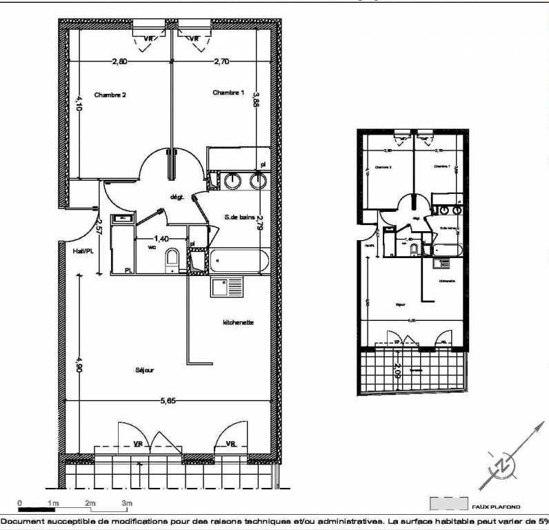 Plan A09, appartement neuf type T3 au 3ème étage, faisant 63m² du programme neuf Les Terrasses de l'Hippodrome à Marseille.