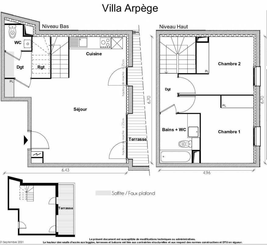 Plan recadré du lot neuf du programme neuf VILLA ARPEGE