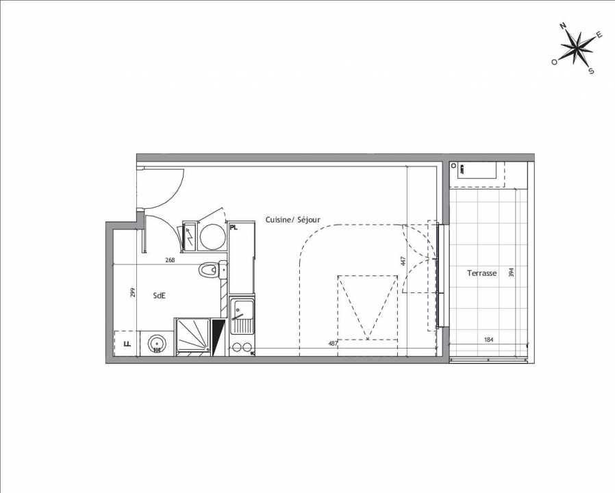 Plan A1-01, appartement neuf type T1 au Rez de chaussée, orienté Est faisant 32m² du programme neuf Soléa à Vendargues.
