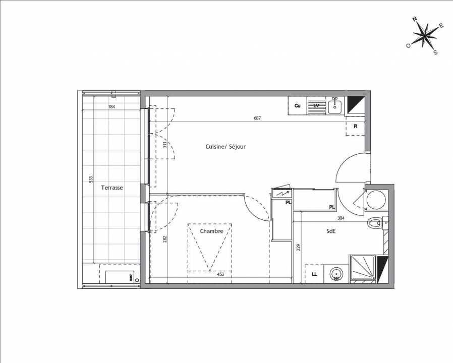 Plan A1-02, appartement neuf type T2 au Rez de chaussée, orienté Sud faisant 42m² du programme neuf Soléa à Vendargues.