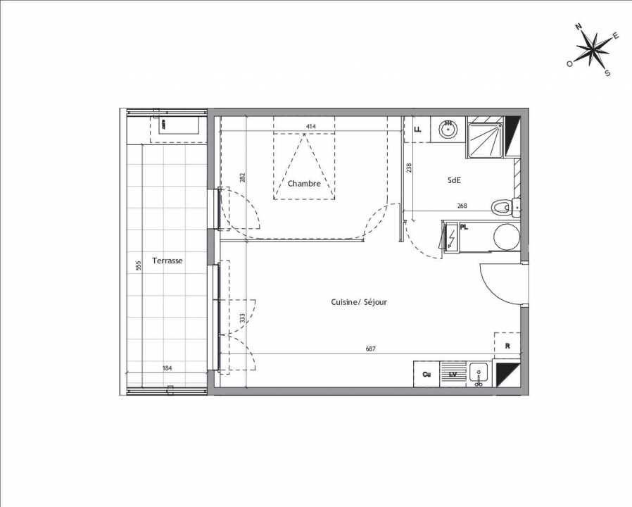 Plan A1-03, appartement neuf type T2 au Rez de chaussée, orienté Sud faisant 41m² du programme neuf Soléa à Vendargues.