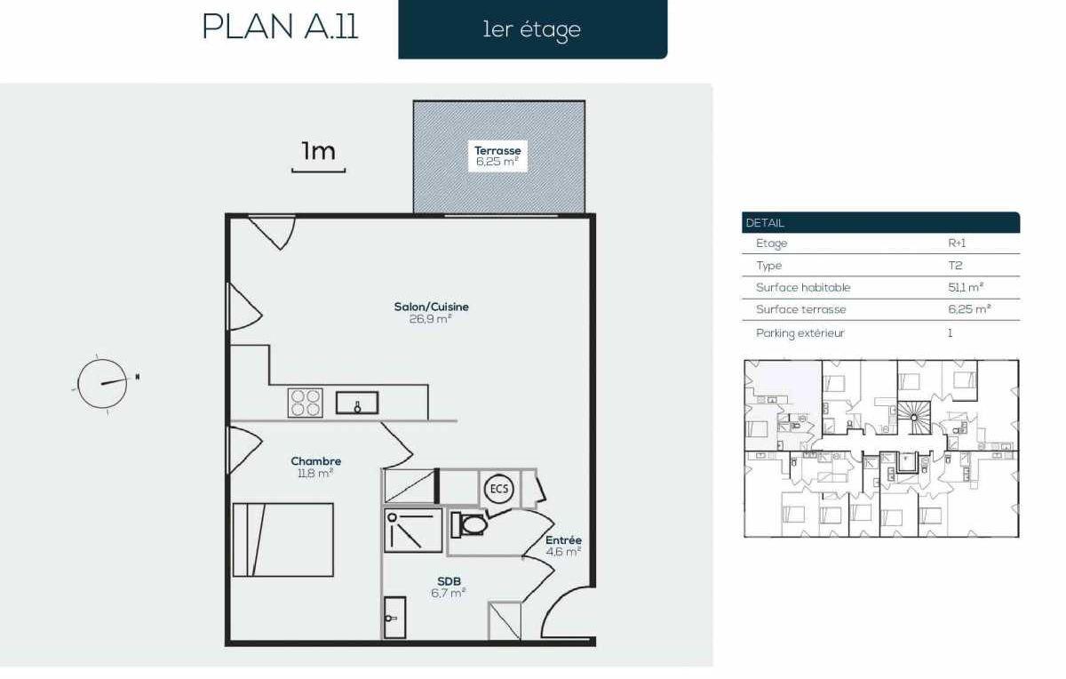 Plan A1-1, appartement neuf type T2 au 1er étage, orienté Sud faisant 51m² du programme neuf SANARIAN à Sanary-sur-Mer.