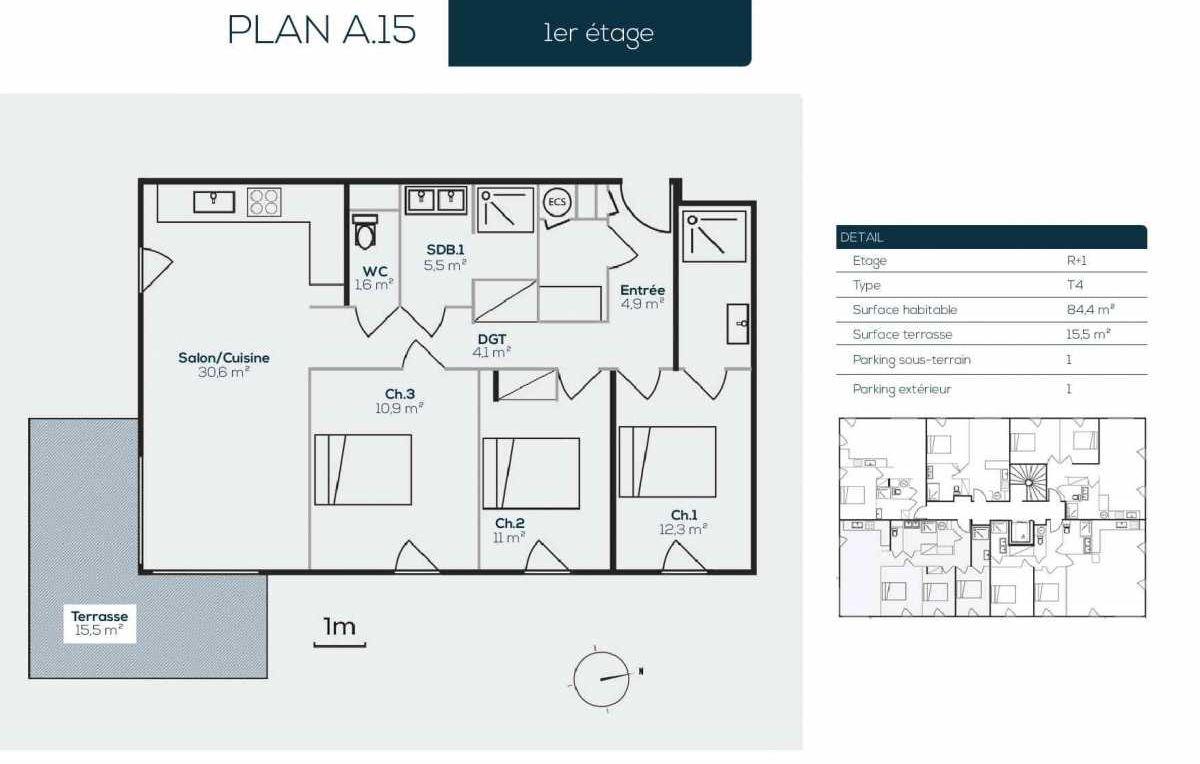 Plan A1-5, appartement neuf type T4 au 1er étage, orienté Sud faisant 84m² du programme neuf SANARIAN à Sanary-sur-Mer.