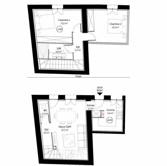 Plan A1, appartement neuf, faisant 63m² du programme neuf LE VIEUX TILLEUL à La Tour-de-Salvagny.