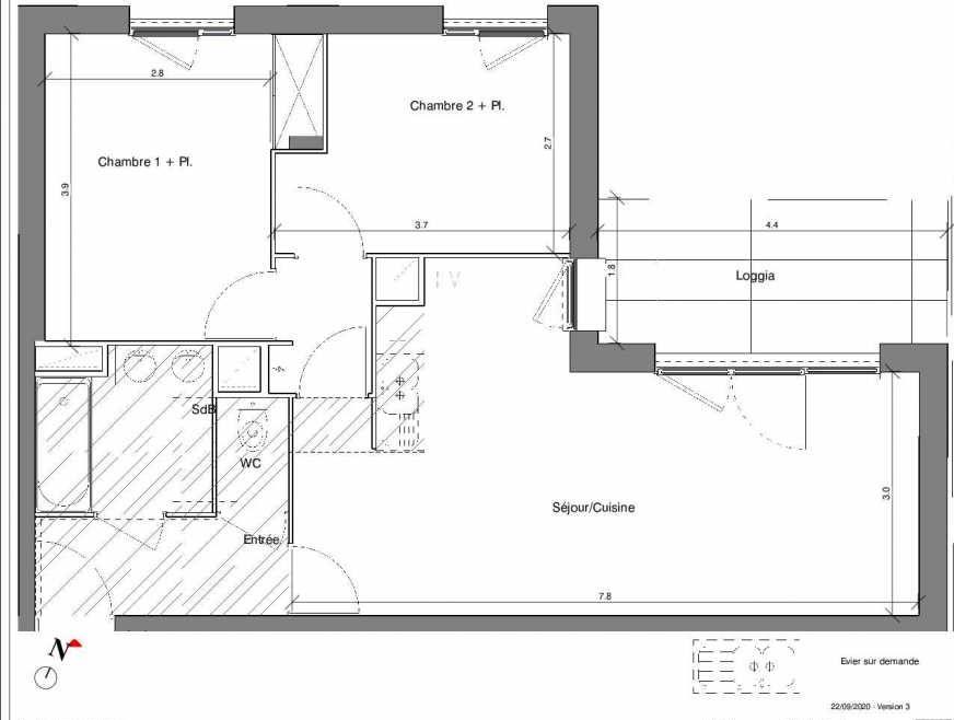 Plan A10, appartement neuf type T3 au 1er étage, faisant 59m² du programme neuf Kubik Garden à Vénissieux.