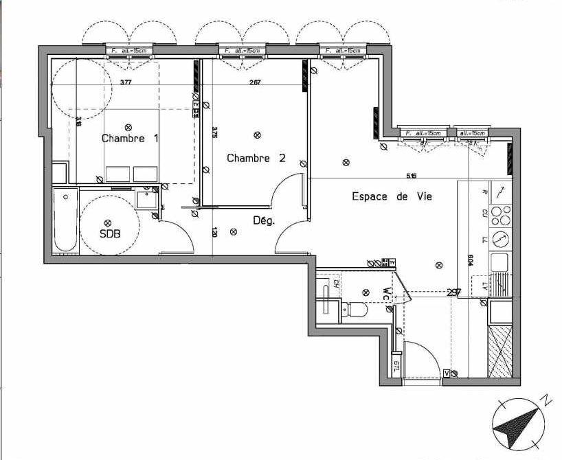 Plan A101, appartement neuf type T3 au 1er étage, orienté Nord faisant 62m² du programme neuf LE HAMEAU DU ROI à Le Mesnil-le-Roi.