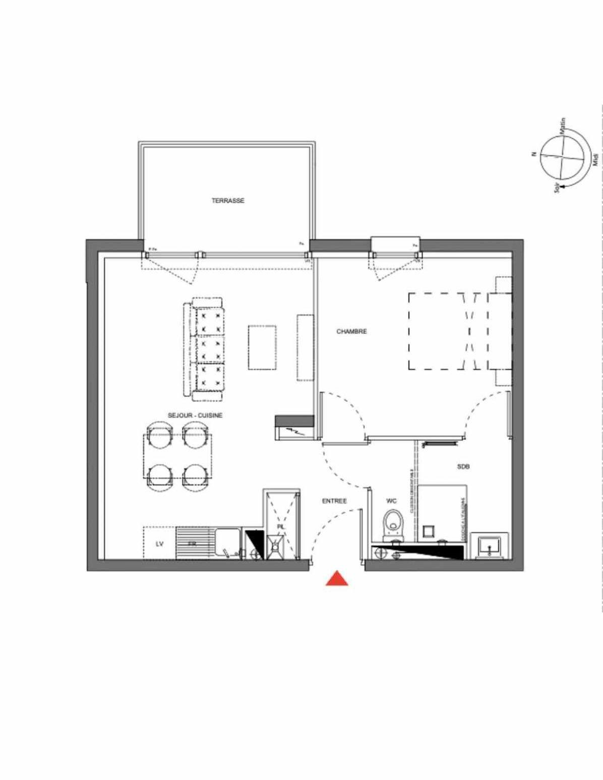 Plan A101, appartement neuf type T2 au 1er étage, orienté Est faisant 39m² du programme neuf Les Demeures d'Henriville à Amiens.
