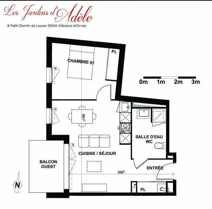 Plan A101, appartement neuf type T2 au 1er étage, orienté Ouest faisant 42m² du programme neuf Les Jardins d'Adèle à Villenave-d'Ornon.
