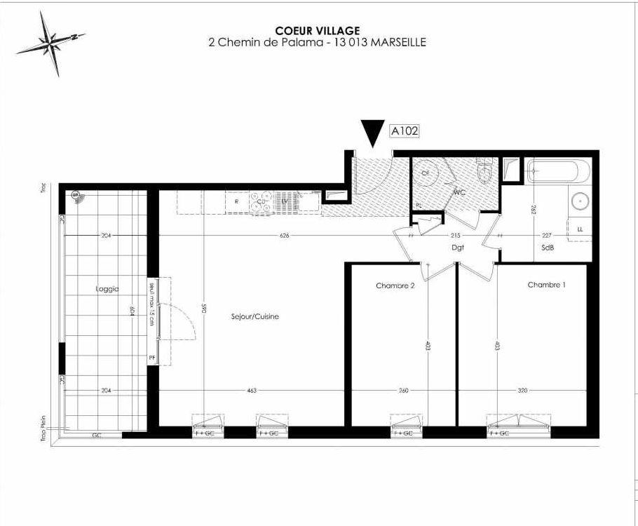 Plan A102, appartement neuf type T3 au 1er étage, orienté Sud faisant 65m² du programme neuf Coeur Village à Marseille.