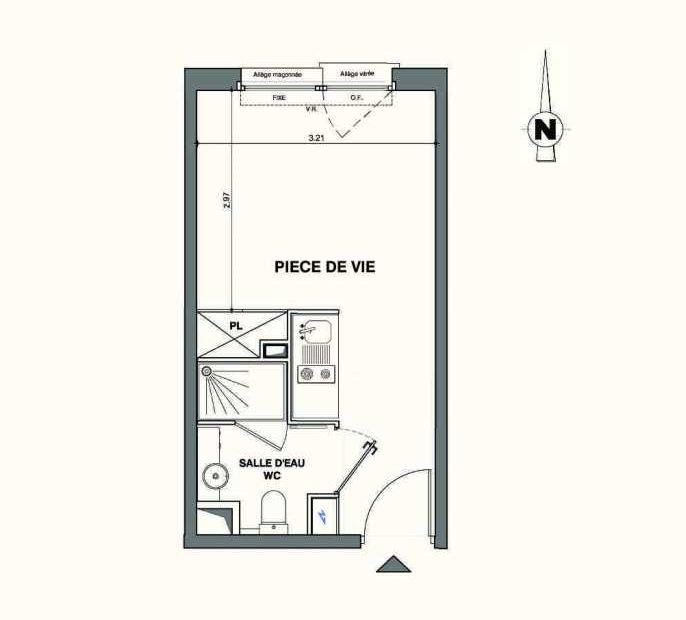 Plan A102, appartement neuf type T1 au 1er étage, faisant 19m² du programme neuf Kaiman - Nimes à Nîmes.