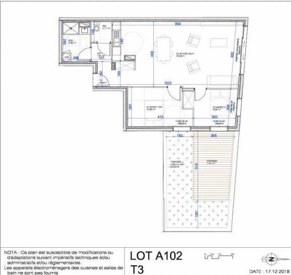 Plan A102, appartement neuf type T3 au 1er étage, orienté Nord faisant 76m² du programme neuf L'ESCAPADE à Le Pré-Saint-Gervais.
