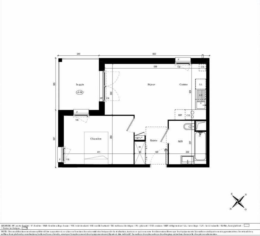 Plan A102, appartement neuf type T2 au 1er étage, faisant 41m² du programme neuf Les Côteaux de Belpech à Beaupuy.