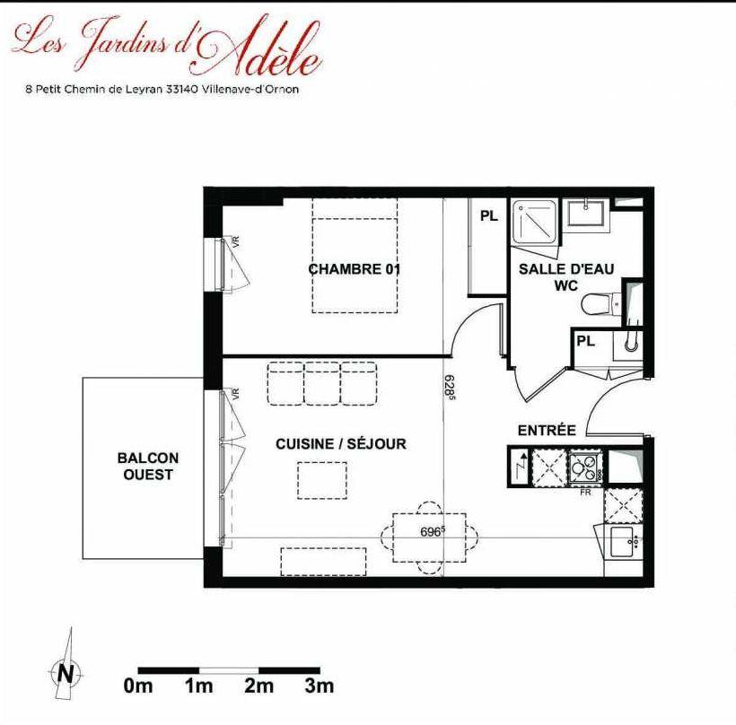 Plan A102, appartement neuf type T2 au 1er étage, orienté Ouest faisant 42m² du programme neuf Les Jardins d'Adèle à Villenave-d'Ornon.