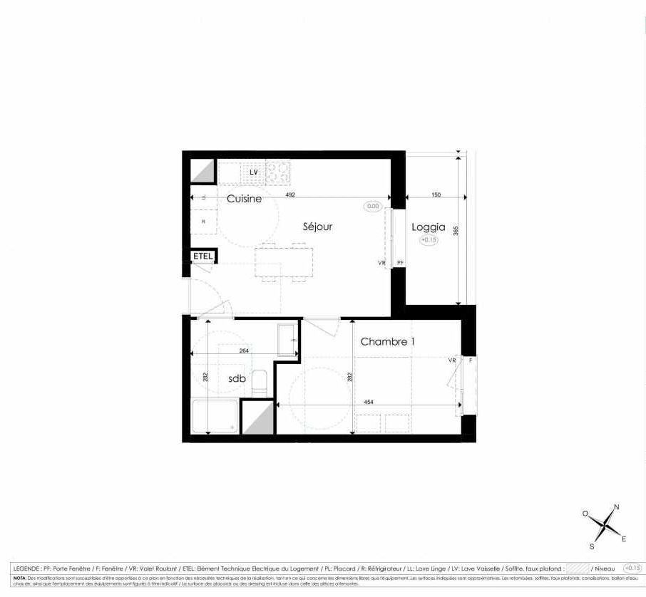 Plan A102, appartement neuf type T2 au 1er étage, faisant 36m² du programme neuf Les Jardins d'Arc à Amiens.