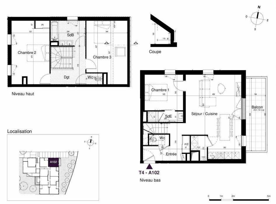Plan A102, appartement neuf type T4 au 1er étage, orienté Est faisant 91m² du programme neuf LES RIVES DE LUCE à Sainte-Luce-sur-Loire.