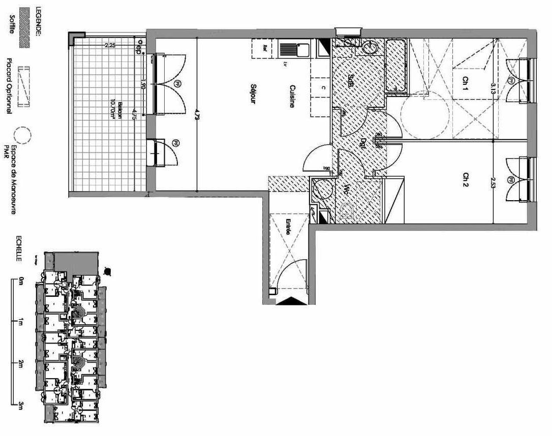 Plan A102, appartement neuf type T3 au 1er étage, orienté Nord faisant 63m² du programme neuf Loderi à Bormes-les-Mimosas.