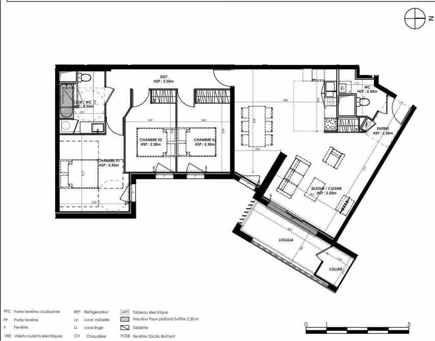 Plan A102, appartement neuf type T4 au 1er étage, orienté Est faisant 94m² du programme neuf Pierre 1er Héritage à Le Bouscat.