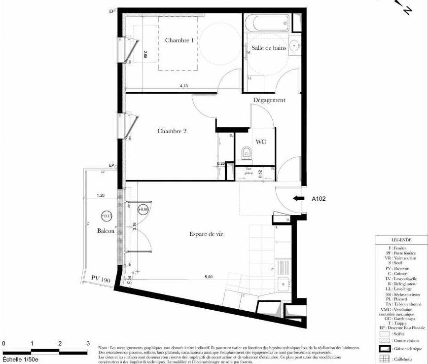 Plan A102, appartement neuf type T3 au 1er étage, orienté Sud faisant 60m² du programme neuf Symbiose à Bezons.