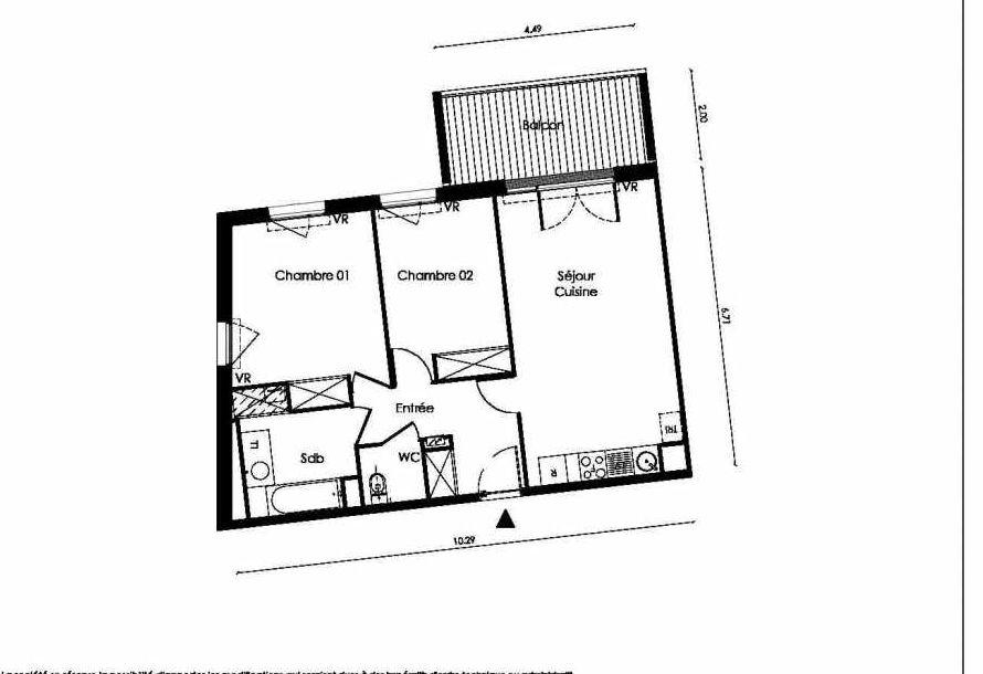 Plan A102, appartement neuf type T3 au 1er étage, faisant 63m² du programme neuf TOSCANI SIENNE à Saint-Orens-de-Gameville.