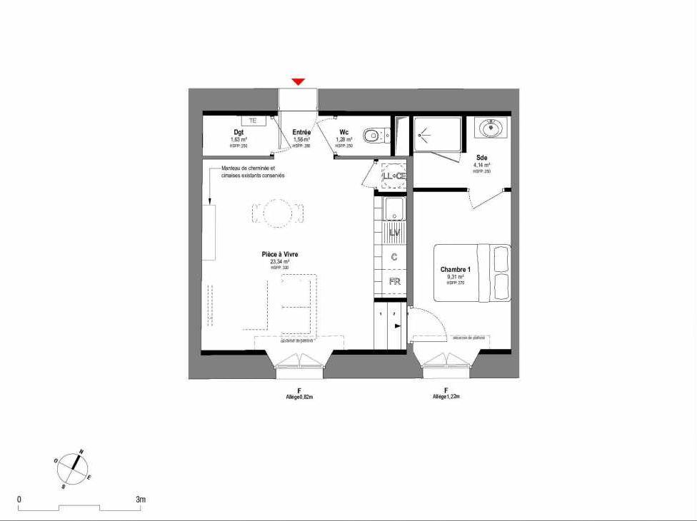 Plan A103, appartement neuf type T2 au 1er étage, orienté Sud faisant 41m² du programme neuf 1708 à Fontainebleau.