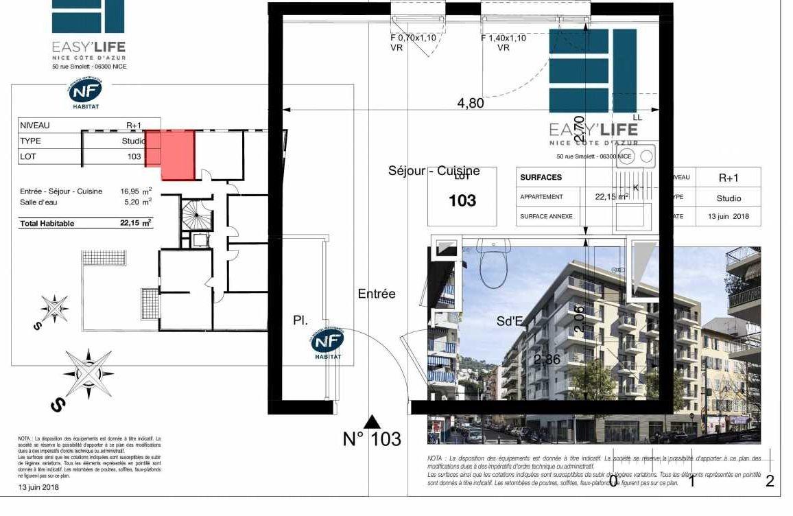 Plan A103, appartement neuf type T1 au 1er étage, orienté Ouest faisant 22m² du programme neuf Easy Life à Nice.