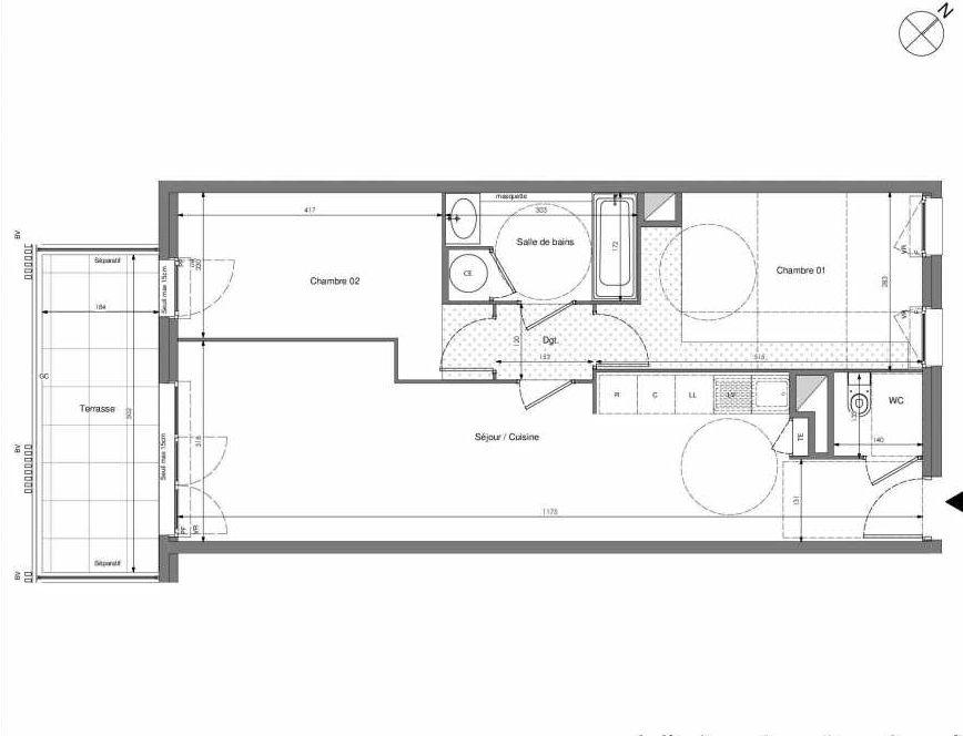 Plan A103, appartement neuf type T3 au 1er étage, orienté Sud faisant 62m² du programme neuf Impulsion à Marseille.