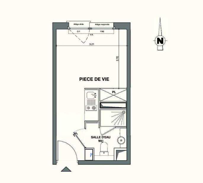 Plan A103, appartement neuf type T1 au 1er étage, faisant 18m² du programme neuf Kaiman - Nimes à Nîmes.