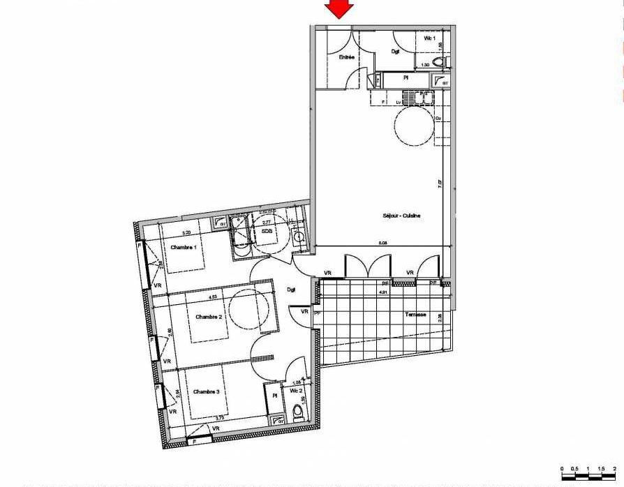 Plan A103, appartement neuf type T4 au Rez de chaussée, orienté Est faisant 91m² du programme neuf Les Ateliers à Grenoble.