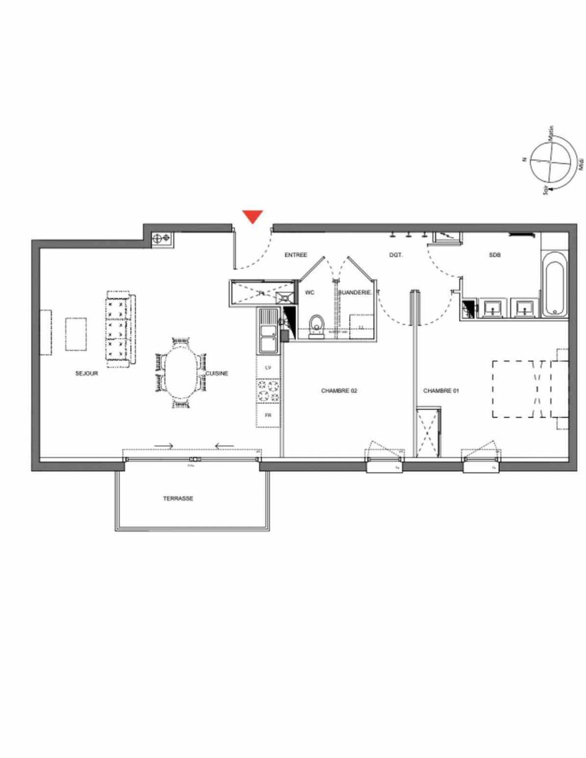 Plan A103, appartement neuf type T3 au 1er étage, orienté Ouest faisant 70m² du programme neuf Les Demeures d'Henriville à Amiens.