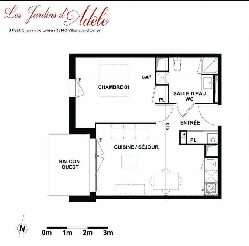 Plan A103, appartement neuf type T2 au 1er étage, orienté Ouest faisant 42m² du programme neuf Les Jardins d'Adèle à Villenave-d'Ornon.