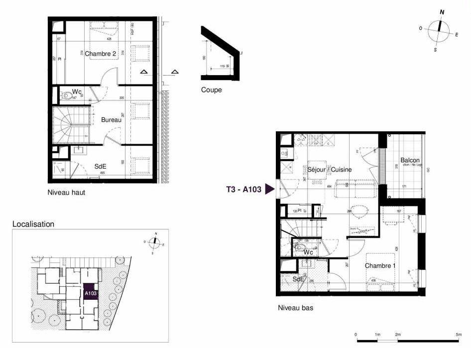 Plan A103, appartement neuf type T3 au 1er étage, orienté Est faisant 64m² du programme neuf LES RIVES DE LUCE à Sainte-Luce-sur-Loire.