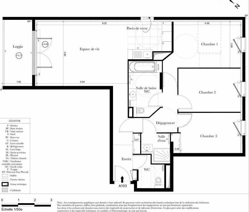 Plan A103, appartement neuf type T4 au 1er étage, orienté Sud faisant 83m² du programme neuf Symbiose à Bezons.