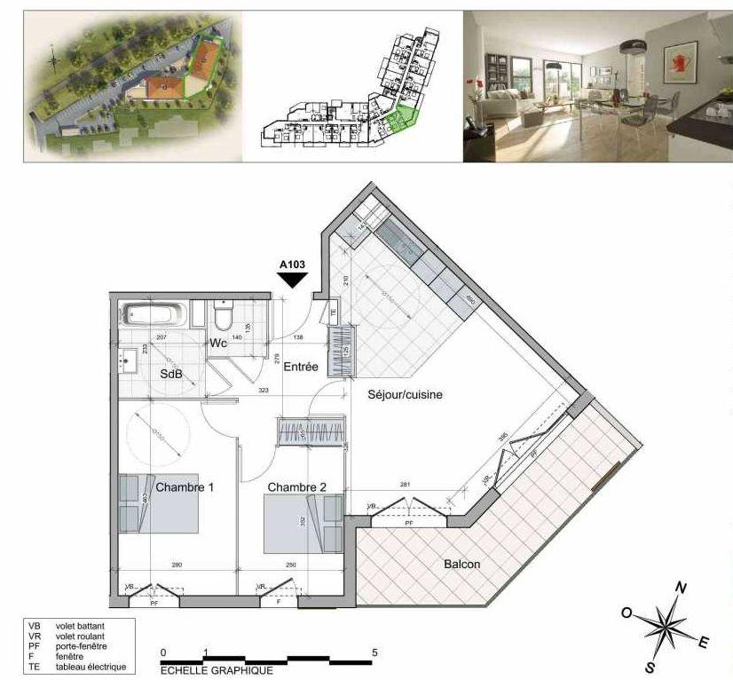 Plan A103, appartement neuf type T3 au 1er étage, orienté Sud faisant 62m² du programme neuf TOULON ESTEREL à Toulon.