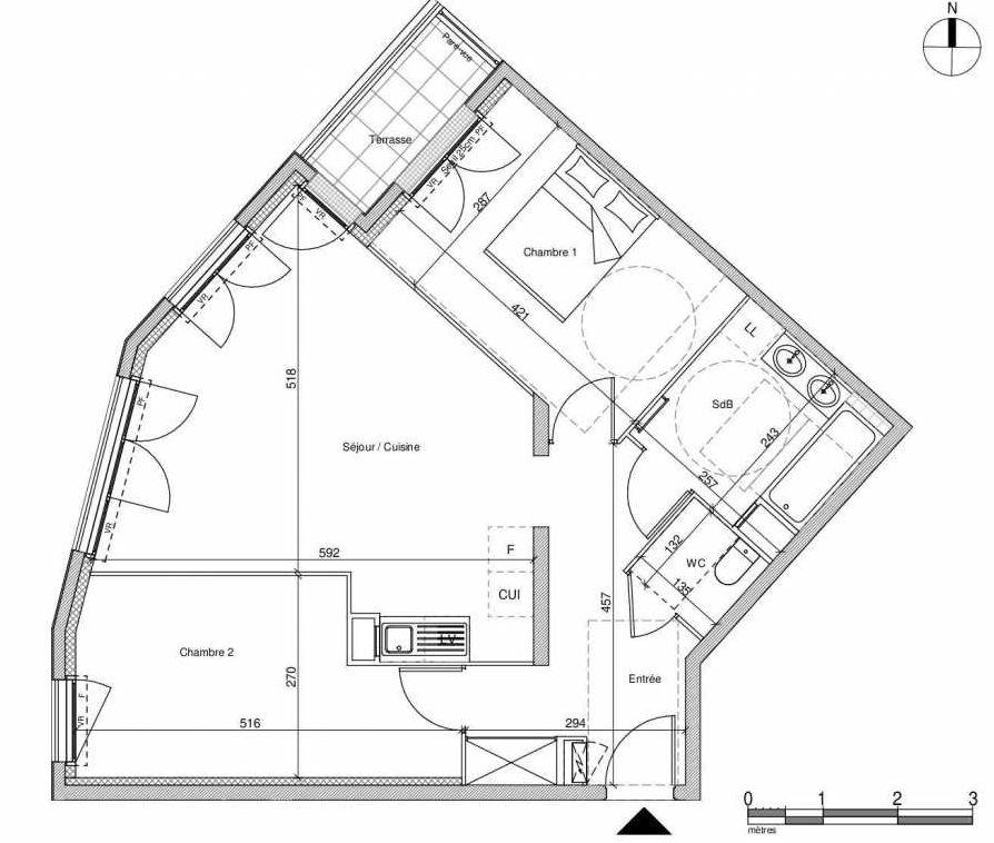 Plan A104, appartement neuf type T3 au Rez de chaussée, faisant 64m² du programme neuf 12 Liberty à Chennevières-sur-Marne.
