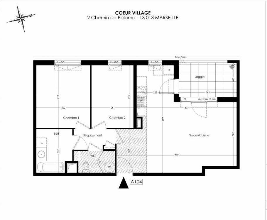 Plan A104, appartement neuf type T3 au 1er étage, orienté Ouest faisant 65m² du programme neuf Coeur Village à Marseille.