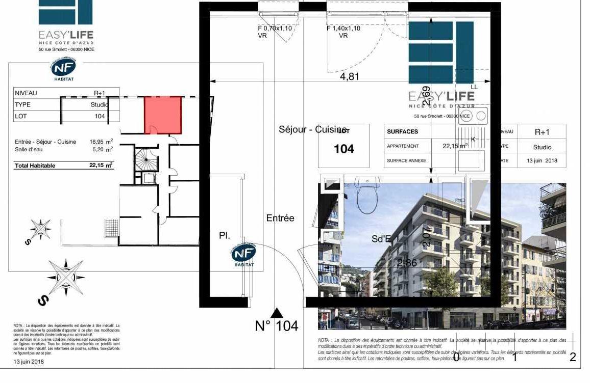 Plan A104, appartement neuf type T1 au 1er étage, orienté Ouest faisant 22m² du programme neuf Easy Life à Nice.