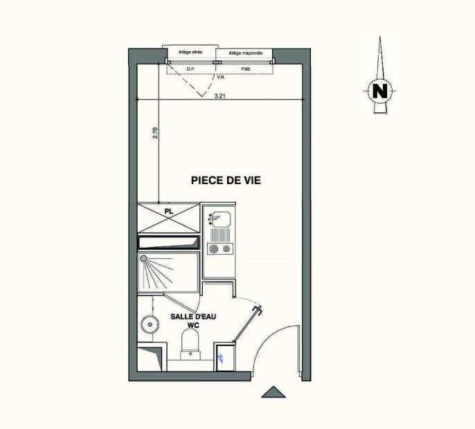Plan A104, appartement neuf type T1 au 1er étage, faisant 18m² du programme neuf Kaiman - Nimes à Nîmes.