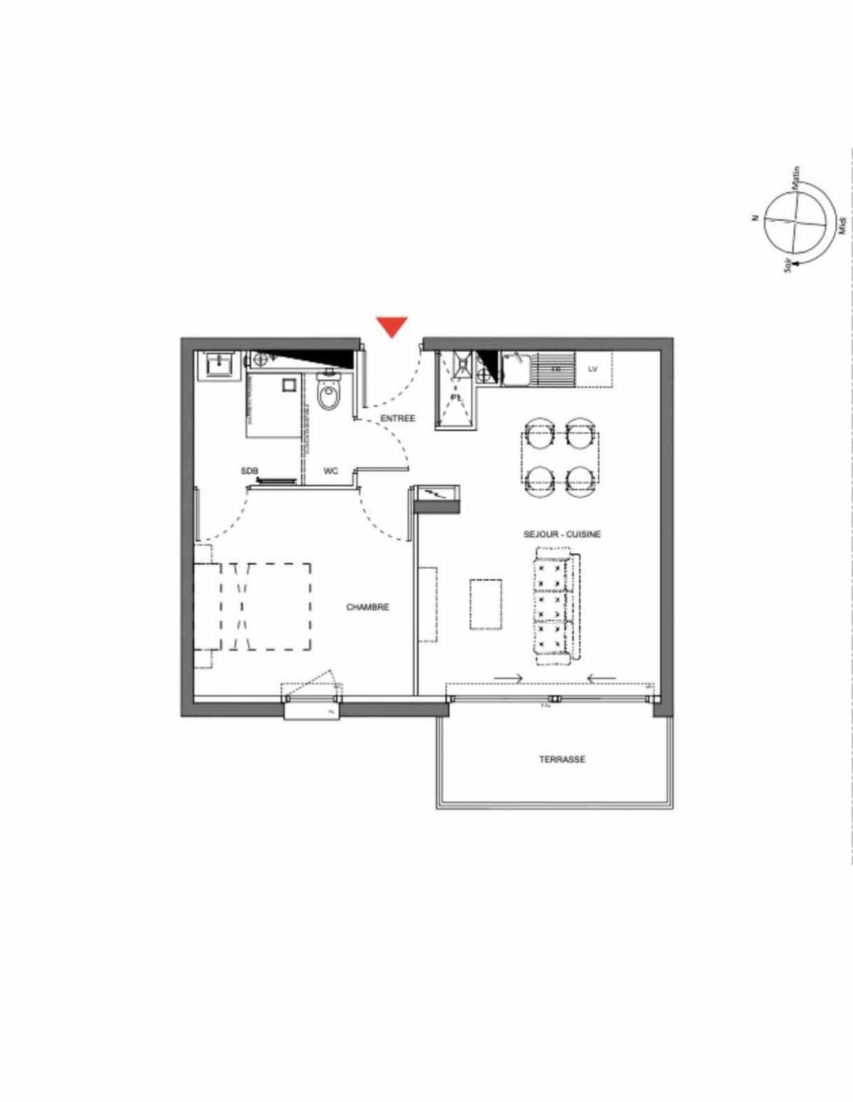 Plan A104, appartement neuf type T2 au 1er étage, orienté Ouest faisant 40m² du programme neuf Les Demeures d'Henriville à Amiens.