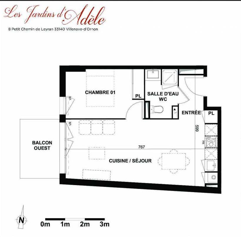 Plan A104, appartement neuf type T2 au 1er étage, orienté Ouest faisant 41m² du programme neuf Les Jardins d'Adèle à Villenave-d'Ornon.