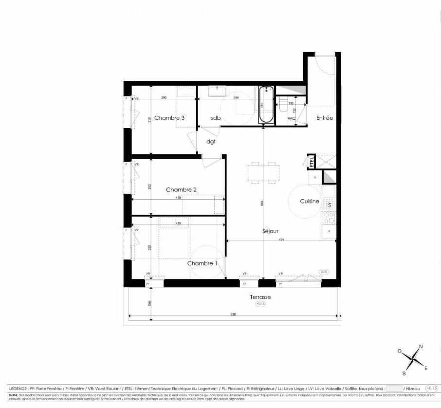 Plan A104, appartement neuf type T4 au 1er étage, faisant 78m² du programme neuf Les Jardins d'Arc à Amiens.