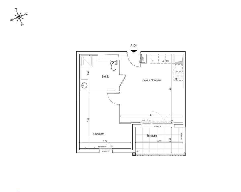 Plan A104, appartement neuf type T2 au 1er étage, orienté Sud faisant 39m² du programme neuf LES JARDINS DU CANAL à Arles.
