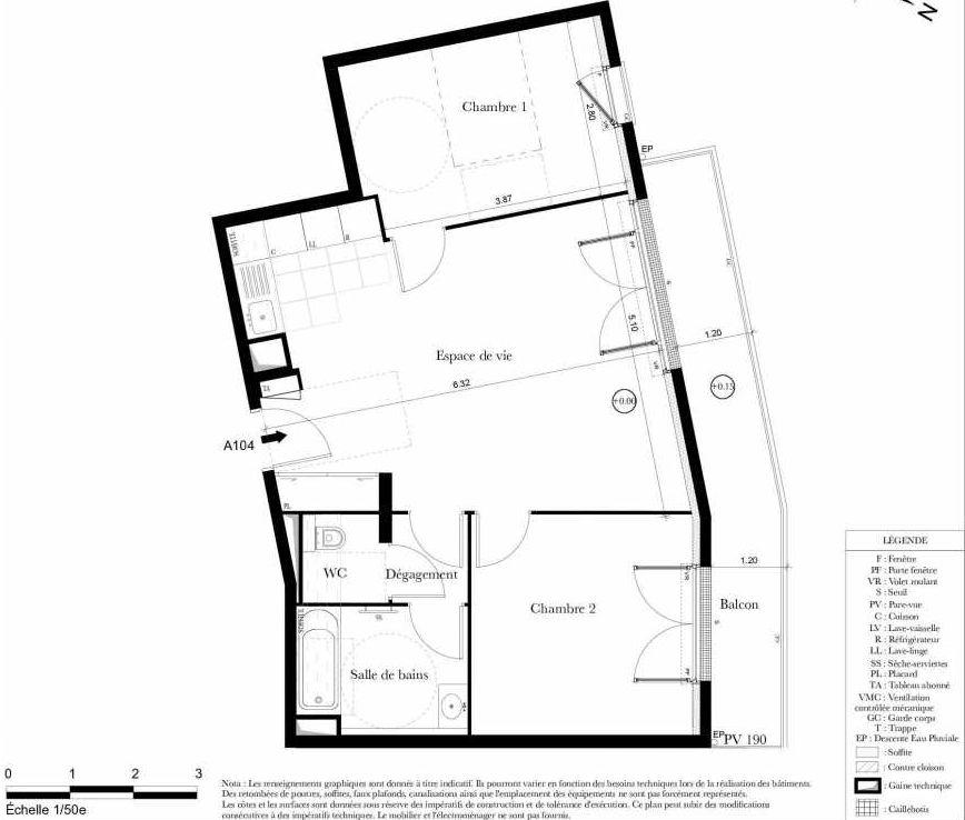 Plan A104, appartement neuf type T3 au 1er étage, orienté Nord faisant 61m² du programme neuf Symbiose à Bezons.