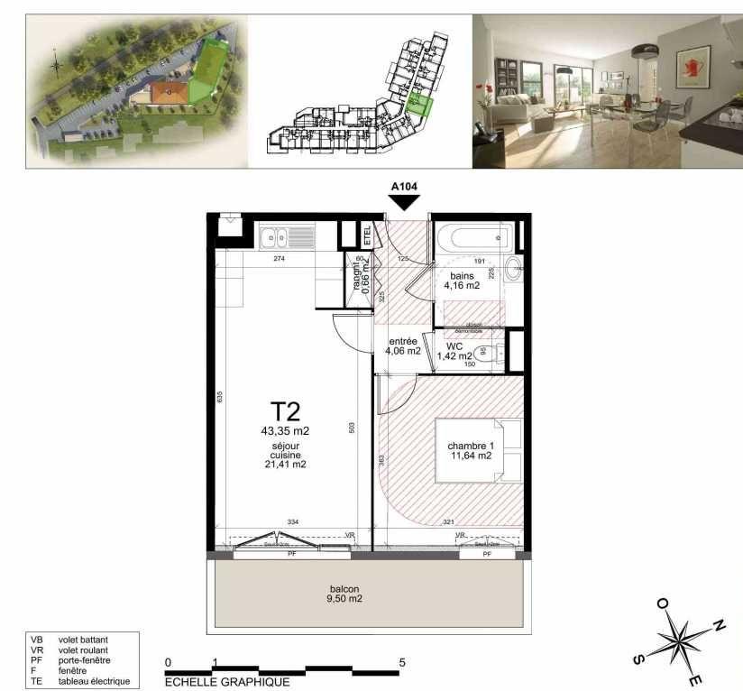Plan A104, appartement neuf type T2 au 1er étage, orienté Sud faisant 43m² du programme neuf TOULON ESTEREL à Toulon.