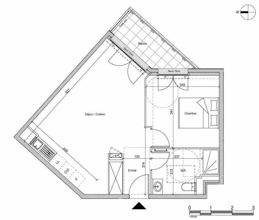 Plan A105, appartement neuf type T2 au Rez de chaussée, faisant 45m² du programme neuf 12 Liberty à Chennevières-sur-Marne.